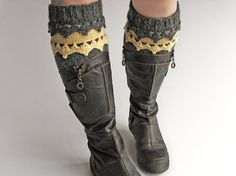 Hand Knitted Openwork Boho Boot Cuffs  Boot Toppers Leg by milleta