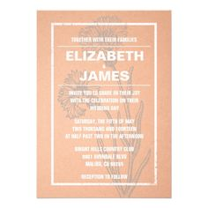 Rustic Vintage Coral Wedding Invitations Custom Invitations