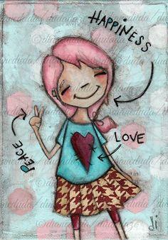 "Original Folk Art Painting on Canvas Panel ""Peace, Love, Happy"" by DUDADAZE, sold ©dianeduda/dudadaze"