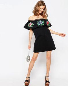 Image 4 ofASOS Denim Embroidered Bardot Dress in Washed Black