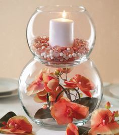 Discover thousands of images about Double fish bowl centre pieces with roses and water pearls Wedding Table, Diy Wedding, Wedding Ideas, Wedding Coral, Wedding Decorations, Table Decorations, Fish Bowl Decorations, Diy Centerpieces, Fish Bowl Centerpieces