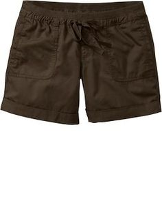 """Women's Cuffed Tie-Waist Twill Shorts (4-1/2"""") - I have a pair from last year and fondly refer to them as my """"fat lump"""" shorts."""