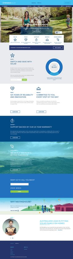 Westinghouse Solar, blue flat design, website, example