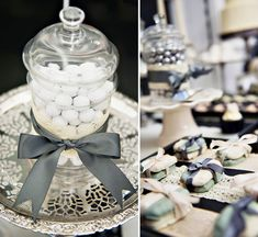 b + w dessert table -- click through to whole post