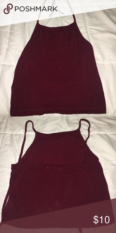 Red Brandy Melville Cropped Halter Top Red Brandy Melville Cropped Halter Top... like a deep red/burgundy Brandy Melville Tops Crop Tops