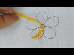 Making flower with pearl embroidery designs step by step - YouTube Hand Embroidery Flowers, Ribbon Embroidery Tutorial, Flower Embroidery Designs, Pearl Embroidery, Embroidery Fabric, Hand Embroidery Stitches, Knitting Stitches, Embroidery Patterns, Crazy Quilt Stitches