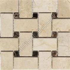 Basketweave Marble Mosaic Tile - Crema Marfil Basket Weave with Emperador Dark Brown Marble Dot Mosaic - Polished. 12.89 per 12x12 sheet