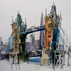 Repost from @ianfennelly - London #towerbridge #thames #london #urbansketch #citysketch #sketch #cityscape#usk #artsanity #drawing #sketchbook #architecturefactor #draw #penandwatercolor #pensketch