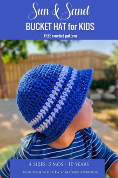 Crochet Baby Hats I love this sun hat on my baby, it's so precious and I know his eyes are safe from the harsh sun. Crochet Summer Hats, Crochet For Boys, Crochet Baby Hats, Free Crochet, Crochet Toddler Hat, Toddler Sun Hat, Kids Hats, Sun Hats, Crochet Patterns