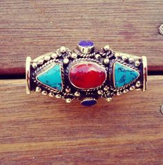 FREE Shipping Turquoise & Coral Cocktail ring Ring by ZamarutJewel