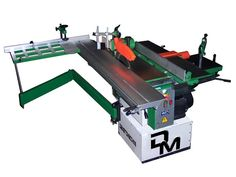 Woodworking machine 7 function with saw blade diameter of 250 mm, sliding carriage stroke of 1600 mm, vertical spindle moulder, joner/planer wide 260 mm, powered from two motors: one for the spindle moulder and one for the saw and joner/planer Mortising Machine, Milling Machine, Machine Tools, Sierra Circular, Circular Saw, Building Design, Building A House, Combination Woodworking Machine, Sliding Table Saw