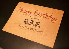 Funny Happy Birthday Card for Best Friend//Happy Birthday to my Best (censored) friend // 5x7 blank inside on Etsy, $4.00 bestie, BFF, gift card, gift idea, lol, funny