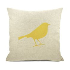 Personalized pillow case - Mustard yellow bird print on natural canvas front with geometric or stripe print back - 16x16 pillow cover. $32.00, via Etsy.- love this