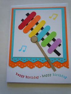 Xylophone card using word window punch (?) from Gems and Paper