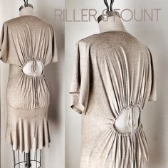 RILLER & FOUNT Biscuit Jersey Dress RILLER & FOUNT, NWOT, size 1 / small. Amazing jersey dress with a peek a boo back you can still wear a bra with and a curving seam around the hips with flutter hem that I swear makes any bum look awesome! riller and fount Dresses