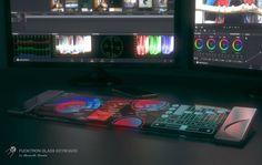 'Fucktron Glass Keyboard'는 지금까지 볼 수 없었던 미래 지향적 콘셉트의 키보드 입니다. 사용자는 이 키보드를 이용해 정해진 '키' 배열이 아닌, 프로그램과 사용자 맞춤의 디스플레이 키배열을 사용할 수 있게 만들어 주죠. 이것은 영상 편집 뿐만 아니라, 음향 편집, 그래픽 편집, 다양한 컴퓨터 프로그램 등을 좀더 효율적으로 사용할 수 있게 만들어 주며, 다양한 작업을 좀더 빠르게 병행할 수 있다는 장점도 가져 옵니다.  이 독특한 키보드는 기본적으로 '터치 스크린(Touch Screen)' 방식과 'OLED 디스플레이(OLED Display)'방식을 사용 합니다. 전체적인 색상을 변경할 수 있는 것은 물론이고, 제 2의 화면으로도 사용할 수 있죠.