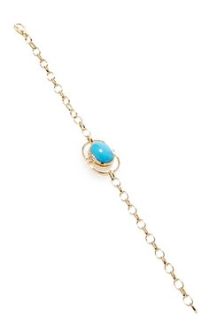 """18K Yellow Gold Locket Bracelet by MONICA RICH KOSANN. Engrave a message in your own handwriting Lobster clasp closure 18K Yellow Gold, Turquoise.Bracelet measures approx. 7"""" (18 cm).$3,300."""