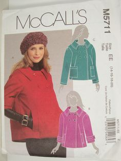 McCalls M5711 Double Breasted Blazer Sewing Pattern Size 14 16 18 20 #McCall