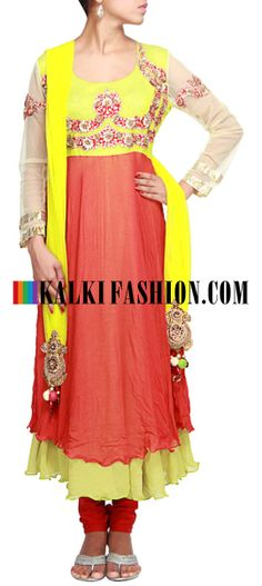 Buy Online from the link below. We ship worldwide (Free Shipping over US$100)  http://www.kalkifashion.com/rust-anarkali-suit-featuring-with-embroidered-yoke-in-sequence-only-on-kalki.html