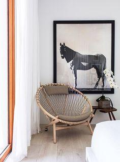 living space design | statement chair | wall art | monochrome