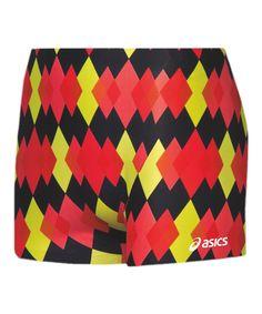 Black & Red Diamonds Compression Shorts