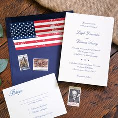 Traditional wedding invitation featuring the American Flag, and stars on the invitation, for military wedding marriage ceremonies. Red white and blue By Ivory Isle Designs Traditional Wedding Invitations, Blue Wedding Invitations, Wedding Stationary, Stationary Store, Military Wedding, American Flag, Red And White, Stationery, Marriage