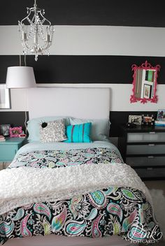 Black and white strip accent wall...so pretty with pink...wonder if she will like something like this?