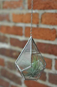 Hanging Teardrop Glass Terrarium -- for air plant terrarium or small succulent -- stained glass -- terrarium supplies -- eco friendly. $55,00, via Etsy.