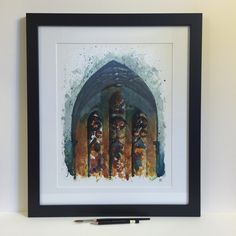 """Fourth Presbyterian Church. Giclée print of original watercolor painting. Framed to 16""""x19"""". - 3rd of 3 custom framed submissions for the upcoming @blickartmaterials @uskchicago show. FOR SALE © Andrew Banks 2015"""