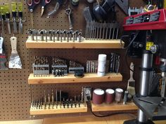 Drill bit storage, well organized.