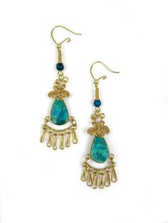 "Wire Wrap Earring ""Riley"" – Wari Designs - Chrysocolla"