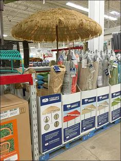 This Thatched Hula Beach Umbrella Display was open to best champion an attractive summer and recreational theme in-store . Beach Umbrella, Hula, Retail, Display, Floor Space, Billboard, Sleeve, Retail Merchandising
