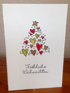 Love Heart Christmas Tree Card cards Easy DIY Christmas Card Ideas Youll Want to Send This Season Simple Christmas Cards, Handmade Christmas Tree, Christmas Card Crafts, Homemade Christmas Cards, Christmas Tree Cards, Christmas Art, Homemade Cards, Holiday Cards, Snowman Crafts