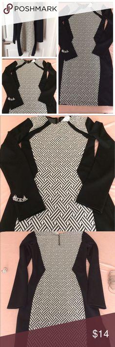 🎀 NWT H&M Black and White Chevron Design🎀 NWT H&M Form Fitting Dress 🔆 Bundle To Save H&M Dresses Long Sleeve