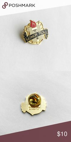 """Vintage Honor Roll Enamel Pin Vintage Honor Roll Enamel Pin  * Genuine vintage * 1"""" x 1"""" * Colors: black, red, blue, white * Themes: high school, class, university, college, collegiate, academia, academic, studying, torch, varsity, society, good student Vintage Accessories"""