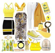 """Yellow Struck"" by ranilukman ❤ liked on Polyvore featuring River Island, LE3NO, Dolce&Gabbana, Paige Denim, Converse, Draper James, Fendi, Flamingo Candles, Hermès and Eugenia Kim"