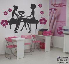 adesivo parede manicure salão beleza cabeleireiro 15 modelos