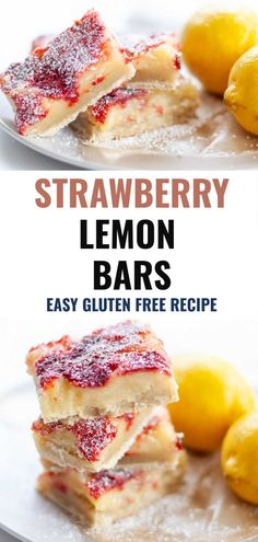 Gluten Free Strawberry Lemon Bars are the perfect sweet and tangy dessert to share with your friends and family this summer. Made with fresh lemon, strawberries and a gluten free buttery shortbread crust, these bars are everything you love about strawberry lemonade in a dessert! Easy Summer Meals, Healthy Summer Recipes, Spring Recipes, Healthy Dessert Recipes, Real Food Recipes, Free Recipes, Desserts, Paleo Baking, Gluten Free Baking