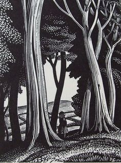 Reynolds Stone. wood engraving. Title-page design for Ambush of Young Days by Alison Uttley. Faber & Faber, 1937.