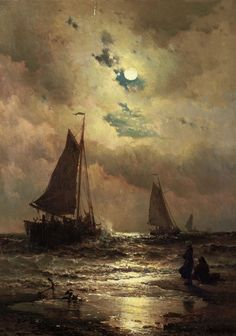 Mauritz de Haas - sailboats by moonlight, 1883