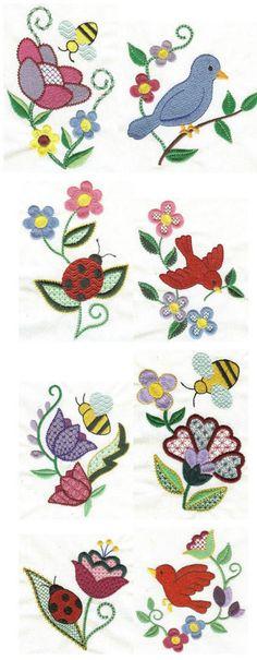 Machine embroidery | Free machine embroidery designs | Springtime Jacobean