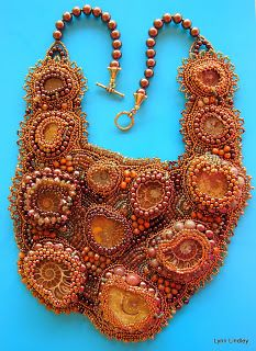 """Buried Treasure"" ~ Ammonite bead embroidered necklace by Lynn Lindley.  See it here: http://www.articreate.blogspot.com"