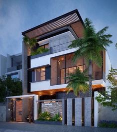 Ideas for house exterior design modern facades Bungalow House Design, House Front Design, Modern House Design, Facade Design, Exterior Design, Architecture Design, House Elevation, Front Elevation, Building Elevation