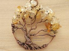 Collana filo avvolto albero della vita citrino di PerfectlyTwisted