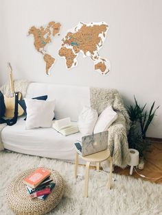 Cork World Map Push Pin by GaDenMap. Travel map for wall decor in office room, bedroom, living room, kid's room decorating. Cork map of the World wall art, Map cork board, Rustic home decor, World Map gifts, World Map cork #mapwalldecor #nurserydecor #livingroomdecor
