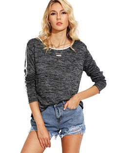 Women's Scoop Neck Long Sleeve Tee Contrast Trim High Low Marled Knit T-shirt