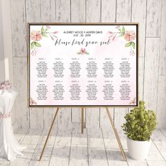 Printable Wedding Seating Chart - Watercolor Floral Wedding Table Seating Plan Printable Elegant Wedding Stationery Calligraphy Wedding Set by OnionSisterCreative on Etsy Reception Seating Chart, Seating Chart Wedding Template, Seating Charts, Table Seating, Wedding Reception Seating, Wedding Table Settings, Wedding Signs, Wedding Set, Elegant Wedding