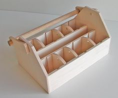 Wood Tool Box or Art Caddy - LARGE - Ready to Assemble, Woodworking Kit - Organize with Movable Dividers - Daily Good Pin Woodworking For Kids, Woodworking Plans, Woodworking Projects, Wood Tool Box, Wood Tools, Camping Tools, Camping Stove, Art Caddy, Camper Awnings