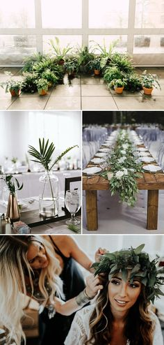 Create an earthy and relaxed vibe with plenty of greenery | Images by Plum & Oak Photo, Marisa Albrecht, Sugar + Soul Photography, and Melissa Prosser Photography