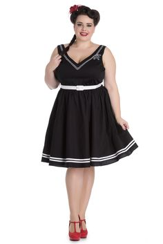 Stunning Black cotton blend V neck Sailor dress. It has Rope and anchor embroidered motifs on the neck edge, comes with a White, fabric covered belt, Skirt is gathered into the waist seam, sexy V-shap